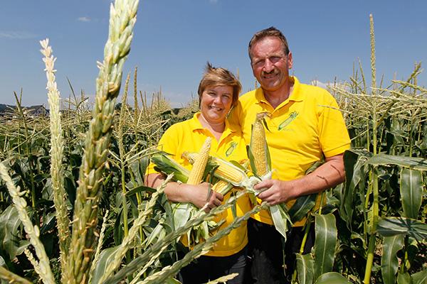 Bea und Martin Leeger im Zuckermais-Feld